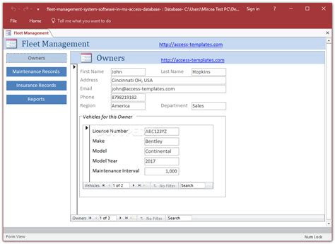 maintenance database access template fleet management system access database templates 1 0