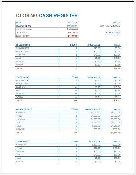 closing cash register template  ms excel excel templates