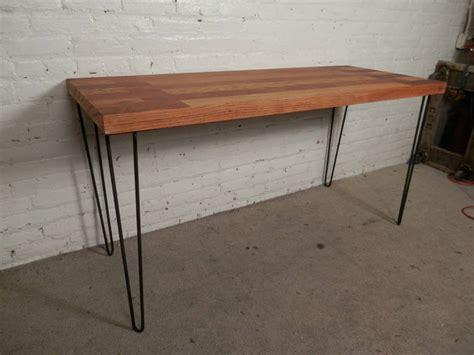 butcher block table legs mid century butcher block table on hairpin iron legs at