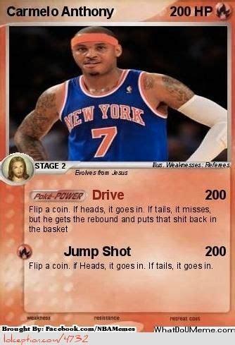 Carmelo Anthony Meme - cards pokemon and pokemon cards on pinterest