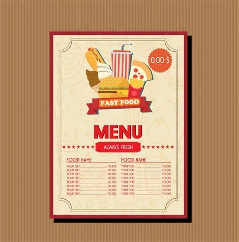 adobe illustrator menu template fast food menu template food vignette brown decoration