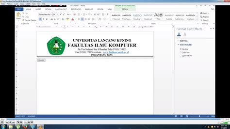 Buat Logo Di Kop Surat by Cara Membuat Kop Surat Di Ms Word How To Create A