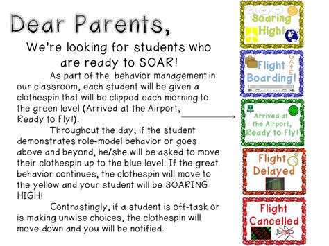 Parent Letter Explaining Clip Chart Sparking Student Motivation Behavior Clip Chart In The Journey