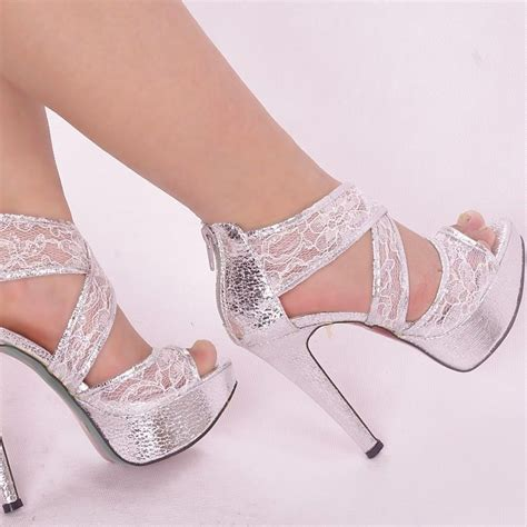 silver high heels for wedding silver glitter ankle lace strappy wedding zipped platform