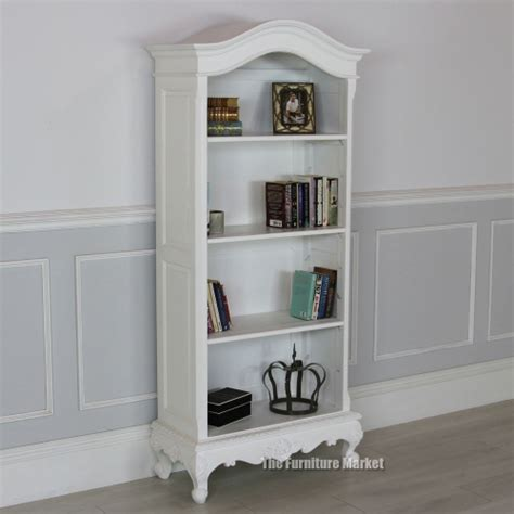 Open Bookshelf White Chateau White Painted Open Bookcase Large