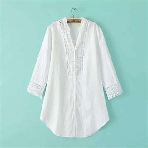 Baju Kantor Blouse White Cklass Size M wb7678692 korean style fashion plus size white linen lace tunic shirt 3 4