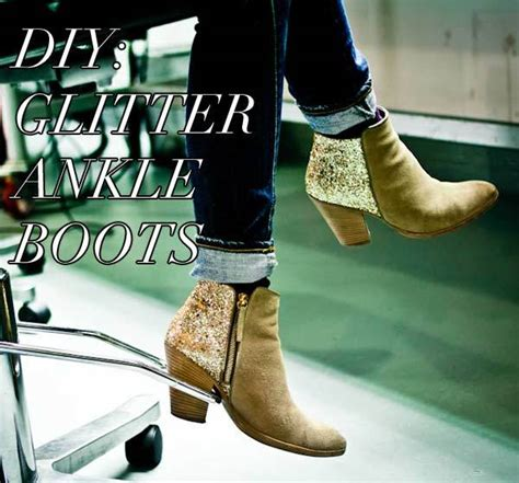 diy sparkly shoes diy fashion glitter ankle boots