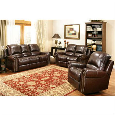 abbyson living berkshire 3 piece leather reclining furniture set burgundy wanelo