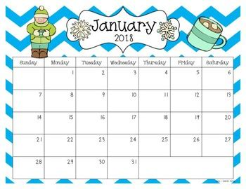 2018 And 2019 Editable Calendar Pdf Version By Sarah Kirby Tpt Free Preschool Calendar Templates 2018