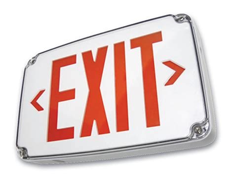 wet location emergency exit light compact wet location led exit sign red or green led sku