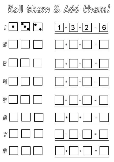 printable math games with dice dice addition worksheet free worksheets library download