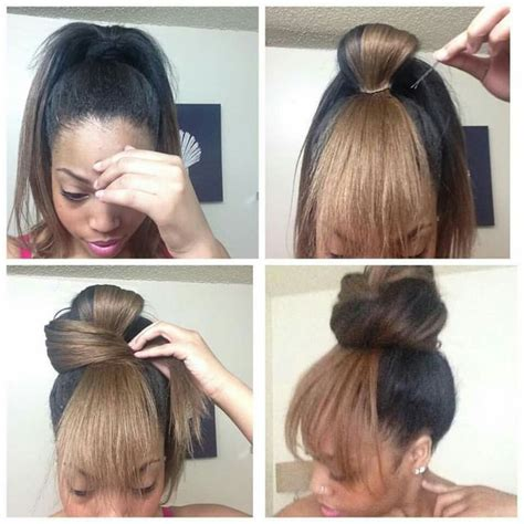 weave ponytail with bang hairstyles faux bangs hairstyles pinterest faux bangs bangs