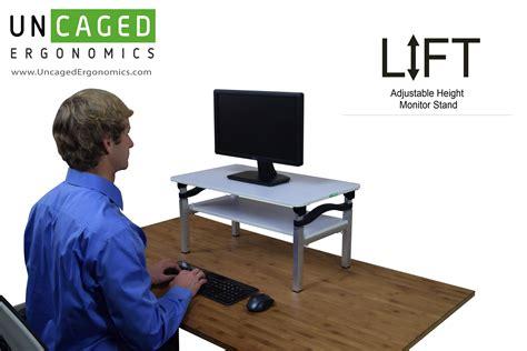computer lift for desk uncaged ergonomics liftb lift tall adjustable height