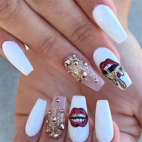gold nail design me my nails i long white red lips gold nail art design coffin nails