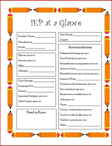iep at a glance template the who hated math iep at a glance middle