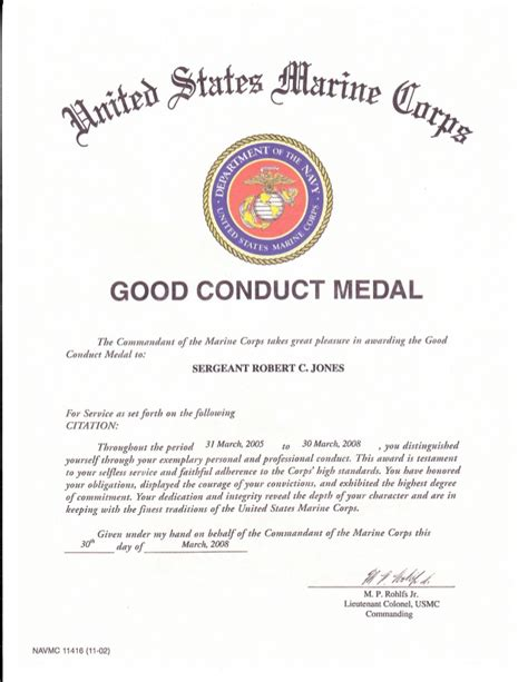 conduct certificate template conduct medal