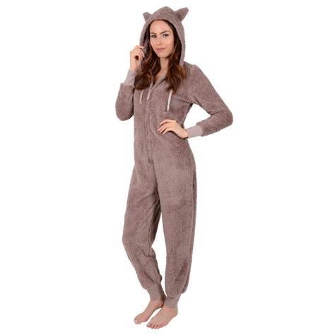 44155 Brown Autumn Length S M L Dress onesie fleecy warm all in one teddy snuggle