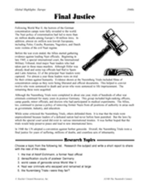 Nuremberg Laws Worksheet by Justice Nuremberg Trials Printable 5th 8th Grade