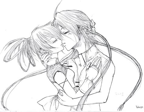 anime couples kissing sketches couple kissing drawing