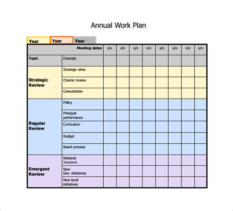 work plan template excel free 13 work plan templates free sle exle format