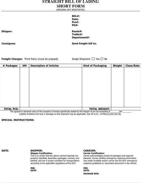 download straight bill of lading short form 1 for free