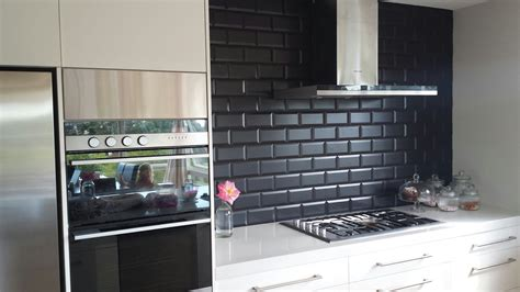 Image Of Black Subway Tile Kitchen Backsplash Home Black Kitchen Backsplash