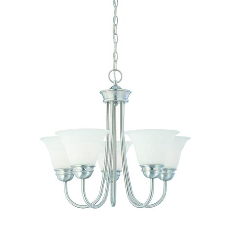 Home Depot Chandelier Shades Lighting 5 Light Brushed Nickel Chandelier With Etched Glass Shade Sl805178 The