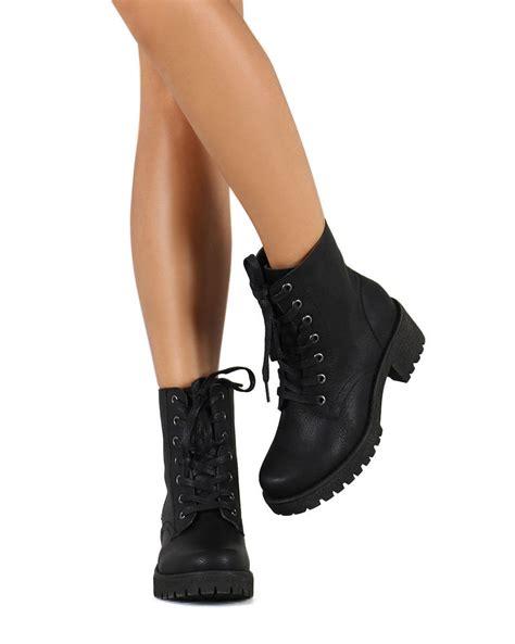 combat boot heels new velda 01 pu toe lug sole chunky