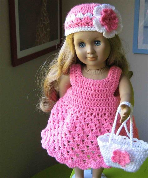crochet pattern doll clothes doll dress parttern crocheted doll dress for american girl