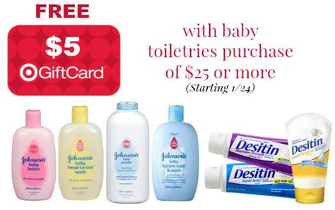 Target 5 Gift Card Promotion - target free 5 gift card when you buy 25 baby toiletries purchase coupon