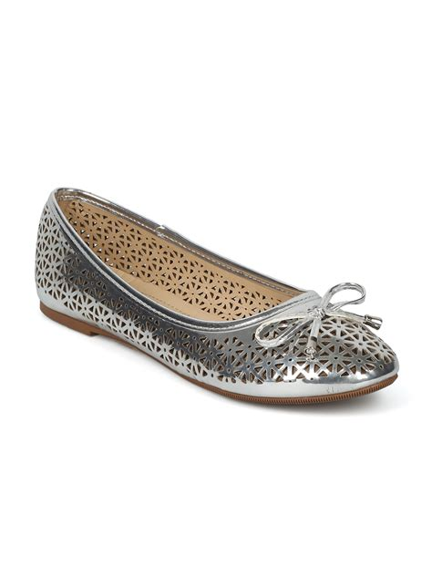 Bow Tie Flats shoes toe bow tie perforated ballet flat