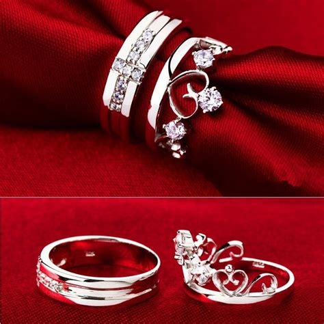sold a pair silver rings set for
