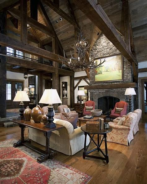 western rustic home decor love the lofted ceilings and dramatic fireplace lodge