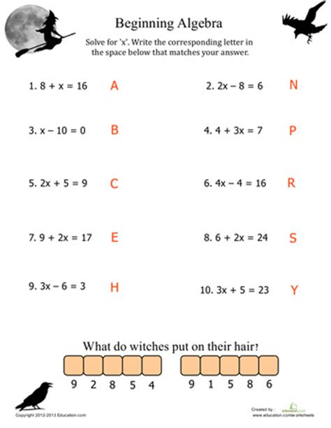 Beginning Algebra worksheet beginning algebra worksheets hunterhq free