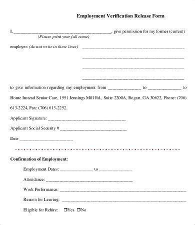 11 sample employment verification forms sample forms