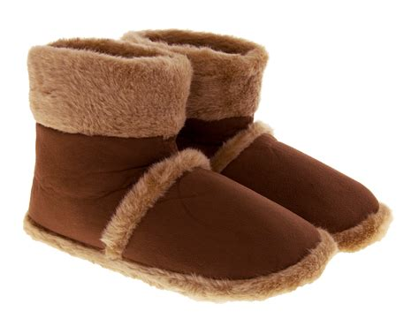 size 9 slipper boots mens bootee slippers slip on indoor faux fur warm winter