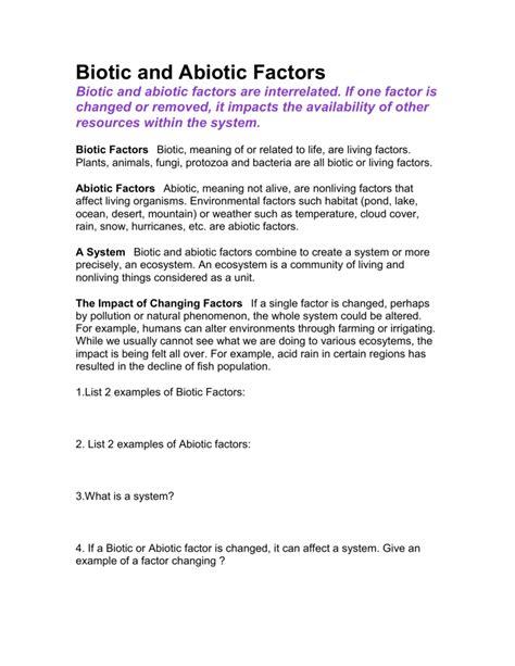 Biotic Abiotic Factors Worksheet by Biotic And Abiotic Factors Worksheet Geersc