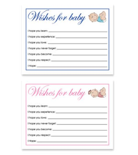 baby shower wish cards template free printable baby shower wish cards for baby