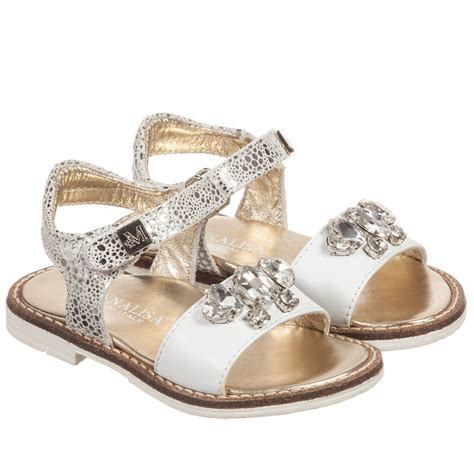 with sandals monnalisa white leather sandals with gems