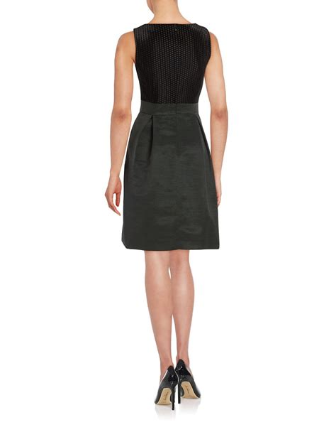 Ivanka Black Dress ivanka sleeveless mixed media dress in black lyst