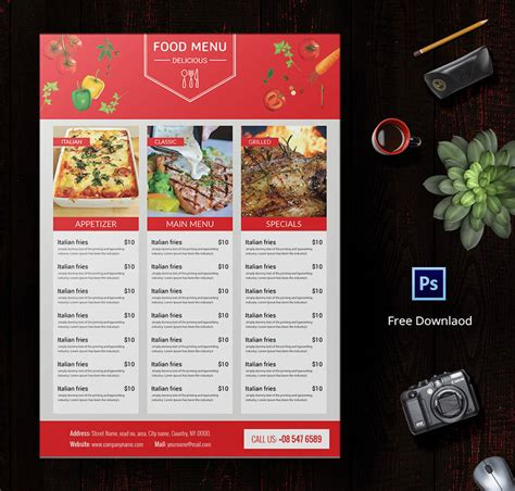 6 free menu templates cafe restaurant party free