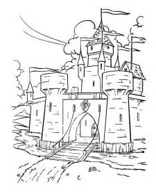 This fantasy and medieval coloring page shows a medieval castle