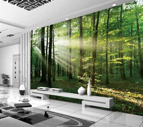 sun misty forest tree view  wall murals scenery
