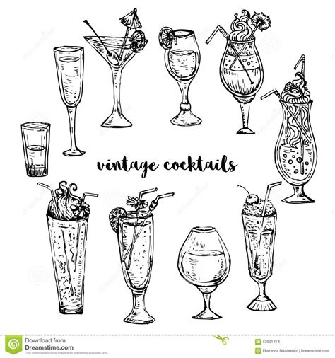 vintage cocktail vector classic cocktails hand drawn illustration of cocktail