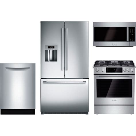 bosch kitchen appliance packages bosch 4 piece kitchen package with hgi8054uc gas range b26ft80sns refrigerator shp68tl5uc