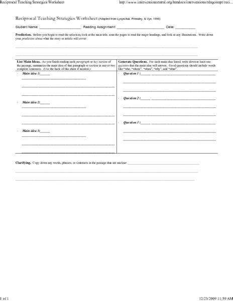 Reciprocal Teaching Worksheet by Reciprocal Teaching Worksheet Lesupercoin Printables