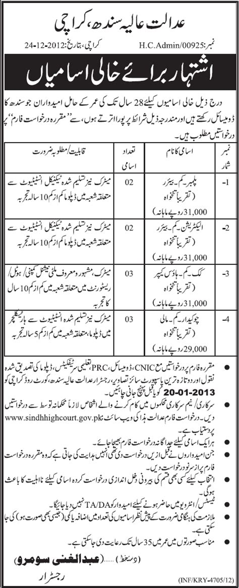 Sindh High Court Search Sindh High Court Karachi 2012 2013 December Plumber Electrician Cook