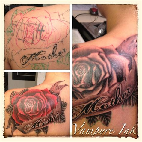 rose tattoo with words left posterior shoulder blade covers up