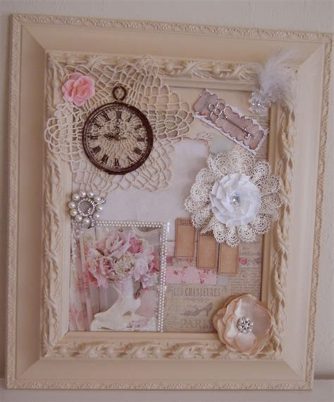 Handmade Artists Shop - handmade shabby chic frame collage cottage chic mixed