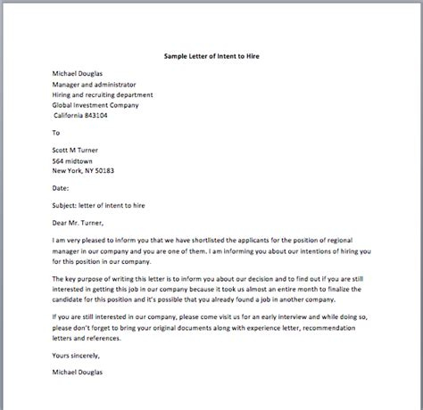 Letter Of Intent To Employ Template Intent To Hire Letter Template Letter Template 2017